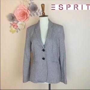New! ESPRIT Plaid cotton Blend Blazer Jacket
